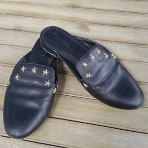 Michael Kors Sz 6 black mules w/gold stars